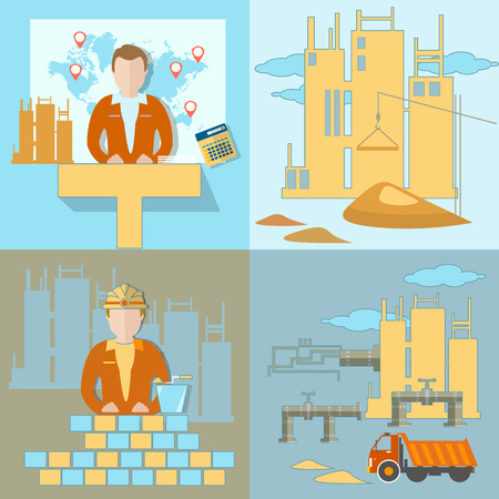 bisiness: Construction of the pipeline, business, industry, construction site, work, crane, global planning, excavator, truck, brick, sand, pipeline, new buildings, vector illustration