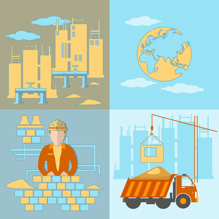 building site: Construction site, concept, construction, building, cement, sand, brick, worker, construction, trucks, transportation, cranes, vector illustration