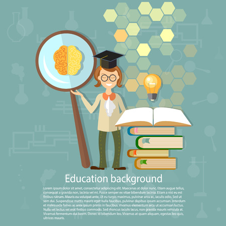 education background: Science and education: students, professors, power, brain, education, ideas, an open book, knowledge, back to school, university, college, college, vector illustrationScience and education: students, professors, power, brain, education, ideas, an open boo