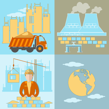 new plant: Construction, development plant, new buildings, global industry, construction site, workers, trucks, bricks, sand, cement, vector illustration Illustration