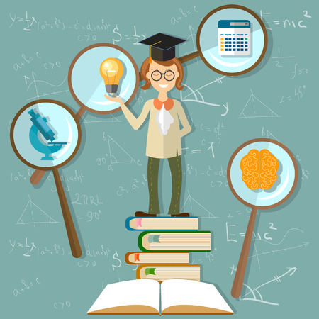 Education background, teacher, professor, back to school, power knowledge, open book, brain, university, blackboard, sine, cosine, microscope, math, count, study, research, vector illustration