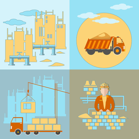 building site: Construction building site work crane truck pipeline panel houses cement sand brick vector illustration flat style