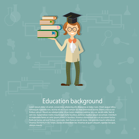 education background: Back to school, education background, teacher, pupils, students, university, college, books in hand, the school board, chemistry, physics, vector illustration