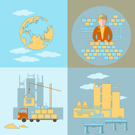 constructing: Design and construction, industry, building site, work, crane, truck, panel houses, cement, sand, brick, global project, vector illustration Illustration