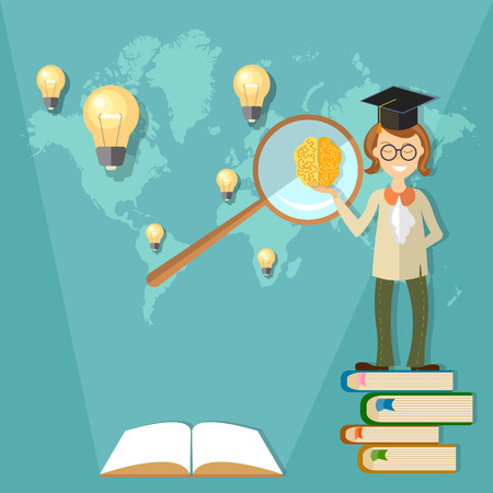 Education, international training, professor, student, teacher, back to school, communication, open book, world map, algebra, physics, chemistry, textbooks, lessons, math, vector illustration