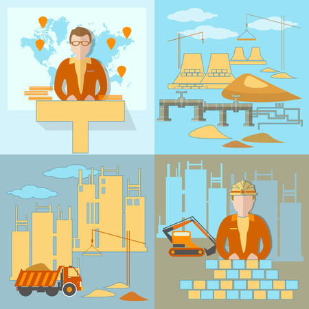 bisiness: Construction of the pipeline business presentation industry construction site work crane global planning excavator truck brick sand pipeline new buildings vector illustration