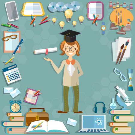 teacher and students: Back to school student education school subjects textbooks notebooks learning lessons teacher calculator tools microscope computer learn university college vector illustration
