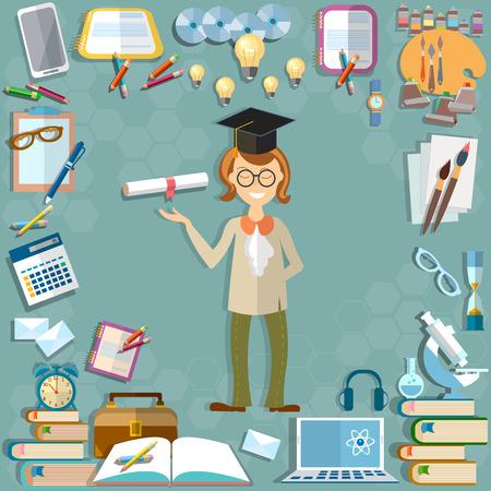 istruzione: Ritorno a scuola materie scolastiche di istruzione studente libri di testo notebook apprendimento lezioni degli insegnanti strumenti calcolatrice microscopio calcolatore imparare università illustrazione vettoriale collegio