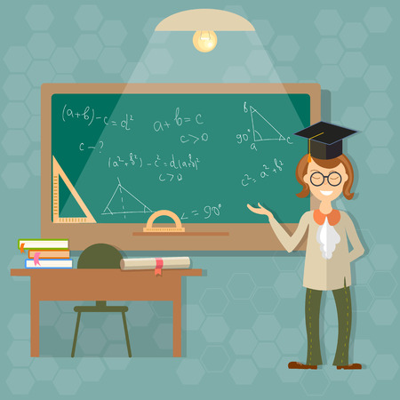 Education, a teacher at the blackboard, back to school, classroom, students, college, university, teach, learn, formula, algebra, geometry, theory, thinking, vector illustration