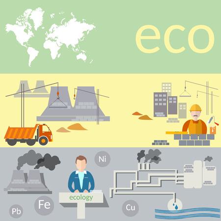 ózon: Ökológiai koncepció: a szennyezés a világ, zöld energia, gyárak, az ózonréteg, vektoros bannerek