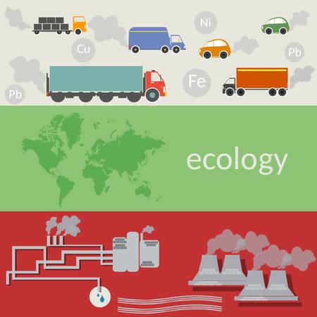 contaminacion del aire: Ecolog�a y contaminaci�n del mundo, la contaminaci�n del aire, el transporte ecol�gico, dise�o plano concepto de ilustraci�n vectorial Vectores