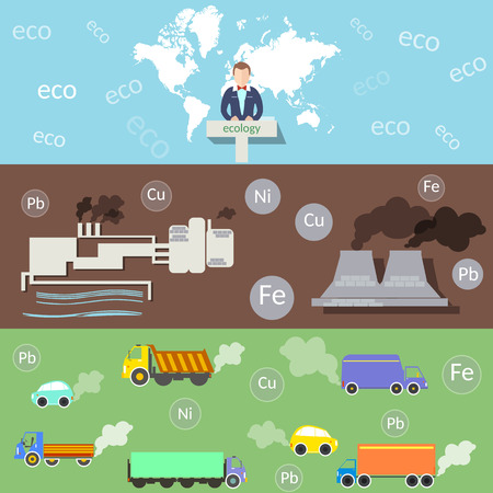 peace pipe: Ecology and Environment, Environmental Conference, pollution, smoke and smog plants, vector banners