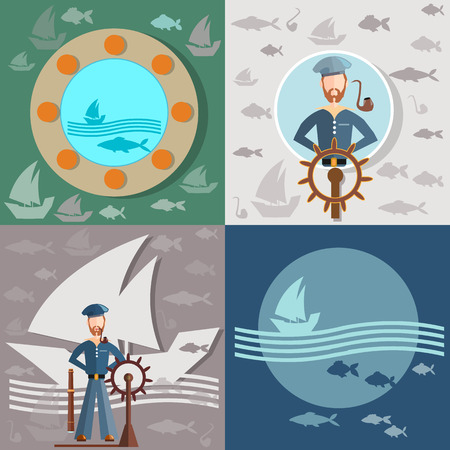 sea port: Old man and the sea, sailor, ships, fishing, life buoy, steering wheel, sea port, vector illustration