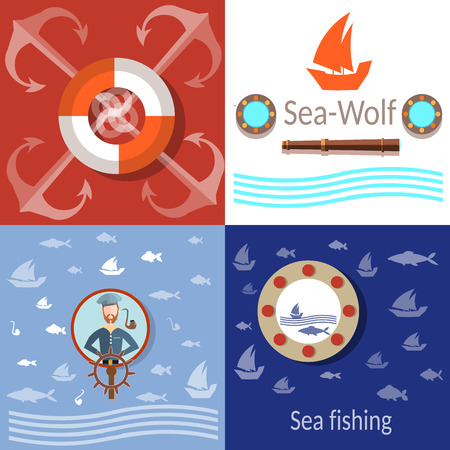 voyager: Sea adventures, sailor, anchors and steering wheel, life buoy, fish, fishing,vector icons