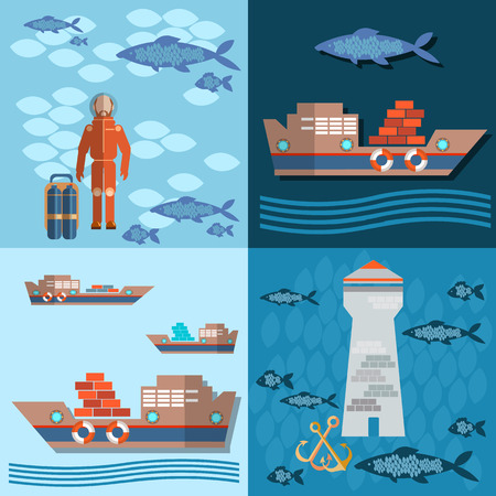sea tanker ship: Study of sea and ocean, trucking, ships and fishing, Divers and lighthouse, flat vector Illustration