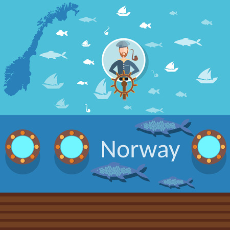 trawl: Norwegian sailor, maps of Norway, industrial fishing, traveling Norway, fish and ships, flat vector banners