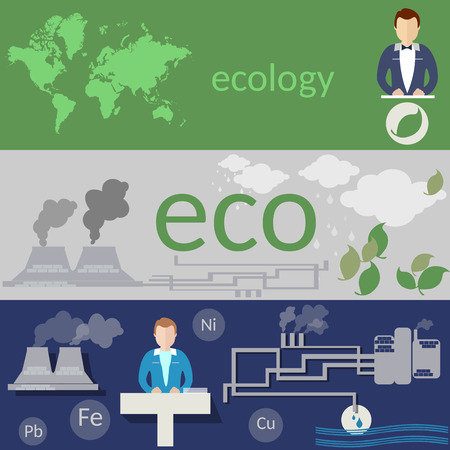 peace pipe: Ecology,world pollution, Environmental Conference, waste of factories and plants, vector banners Illustration
