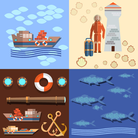 oceanography: Industrial fishing in the oceans and seas, diver and a lighthouse, salmon, ships, anchors, underwater study of the ocean, flat vector Illustration
