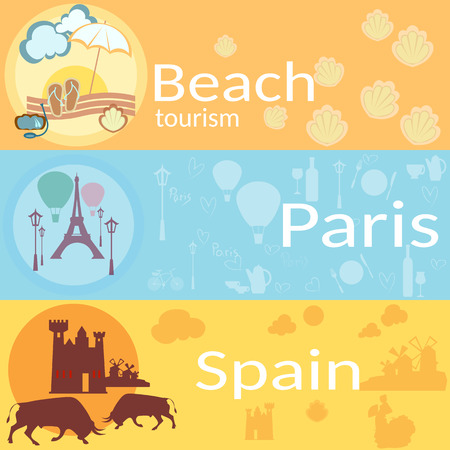 resorts: Travel around the world: France, Spain, beaches, resorts, vector banners Illustration