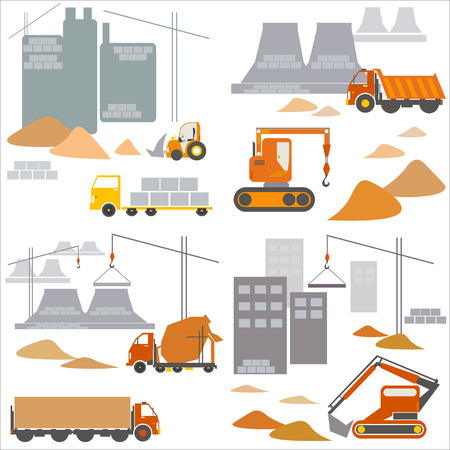 Transport and construction, construction site, vector illustration