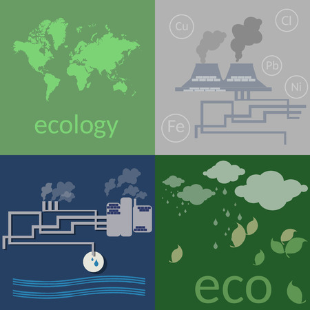 poisoning: Ecology. Environmental pollution, poisoning the soil and air, ecology concept flat vector icons set Illustration