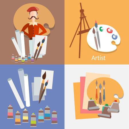 pintor: Herramientas para Pintor en el dibujo la pintura de papel de acuarela aguada pintura de caballete vector plana ilustración