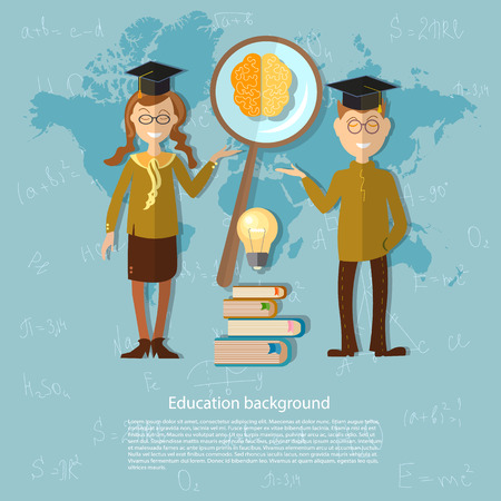 international students: International education, online learning, America, Asia, Europe, schoolboy, blackboard, schoolgirl, student, university, college, vector illustration Illustration