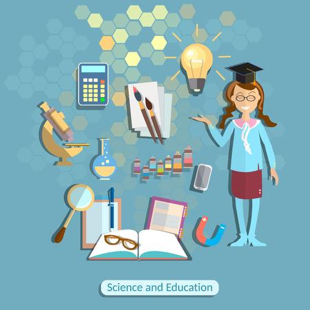 colegiala: Ciencia y educaci�n, colegiala, estudiante, qu�mica, f�sica, uniforme escolar, el poder del conocimiento, aprendizaje, de nuevo a escuela, matem�ticas, f�rmulas, experimento, dibujo, colegio, universidad, ilustraci�n vectorial