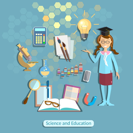 school uniform: Science and education, schoolgirl, student, chemistry, physics, school uniform, the power of knowledge, learning, back to school, math, formulas, experiment, drawing, college, university, vector illustration