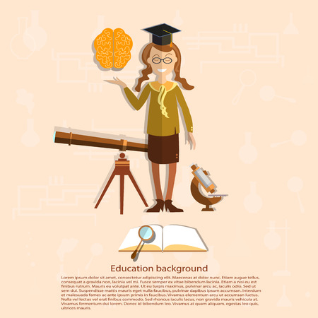 school uniform: Education, back to school, school girl, astronomy, open textbook, study, biology, books, college, power of knowledge, school uniform, vector illustration