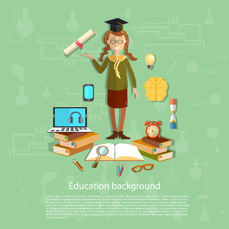 exam: Education, schoolgirl exam, graduation cup, diploma, online education, back to school concept books, open book, computer, knowledge, study, vector illustration Illustration