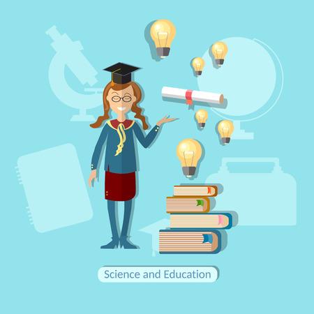 lessons: Education concept schoolgirl, diploma, power of knowledge, uniform, school bag, lessons, training, books, vector illustration