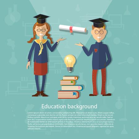 uniforme escolar: Educación colegial colegiala volver a la universidad de la escuela de potencia estudio universitario del conocimiento ilustración exámenes de diploma vector