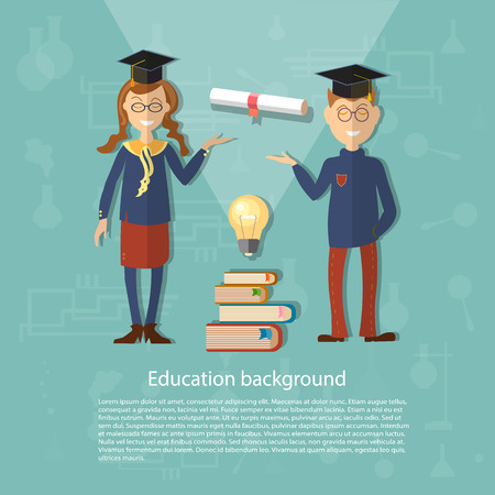 exam: Education schoolboy schoolgirl back to school college university study power of knowledge diploma exams vector illustration Illustration