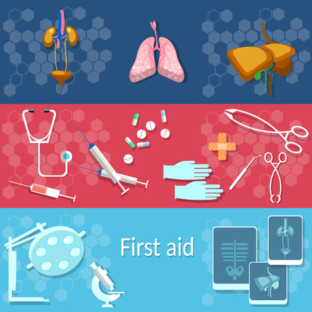 ambulancia: Medicina, médico, concepto, de rayos X, que opera, instrumentos médicos, órganos humanos, hígado, riñón, hospital, ambulancia, banderas del vector