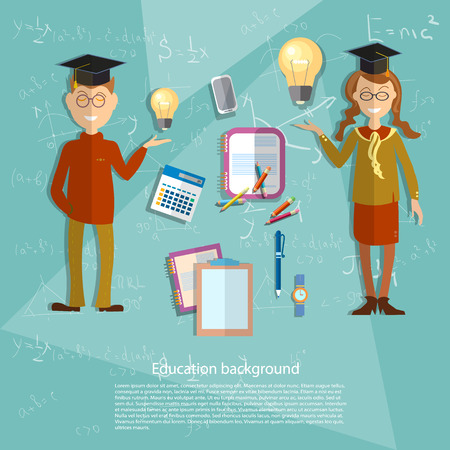 Education concept schoolboy, schoolgirl, school subjects, textbooks, classroom, uniform, college, algebra, math, geometry, formula, school board, university, vector illustration Illustration