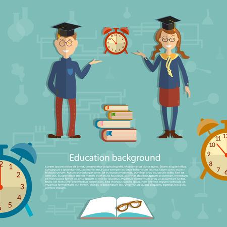 school uniform: Time for education, schoolboy, schoolgirl, textbooks, back to school, school uniform, alarm clocks, beginning of the school year, open book vector illustration