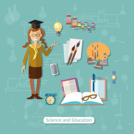 Back to school, education, concept, learn, schoolgirl, school subjects, open book, college, campus, university, uniforms, vector illustration