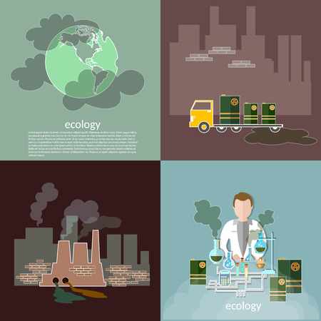 toxic accident: Pollution ecology smog in the city contamination garbage disposal waste vector icons