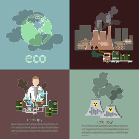 pollution: Pollution ecology smog risk plants smoke recovery garbage waste vector icons
