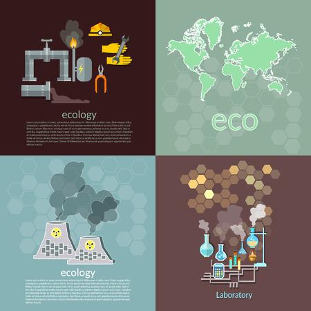 mundo contaminado: Ecología contaminación gestión de residuos de petróleo concepto destrucción contaminación química de los iconos planeta vector