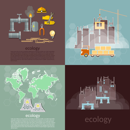 Pollution ecology concept waste management plants smoke smog ecological disaster vector icons