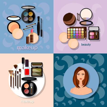 maquillage: Pinceaux de maquillage hadows détails de maquillage professionnel cosmétologie belle vecteur de visage de femme Illustration