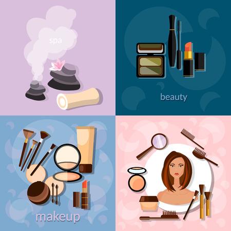 sch�nes frauengesicht: Sch�nheitssalon-Konzept Make-up sch�ne Frau Gesicht professionelles Make-up Details der Kosmetik Wellness-Vektor-Icons Illustration