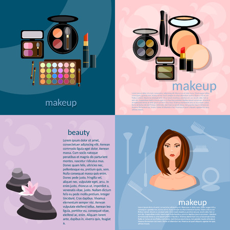 beuty: Makeup artist fashion concept makeup professional make-up details cosmetology beautiful woman face vector icons