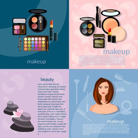 makeup artist: Makeup artist fashion concept makeup professional make-up details cosmetology beautiful woman face vector icons