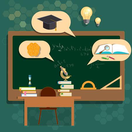 salle de classe: Education conseils scolaires classe retourner à l'université de l'école de mathématiques de biologie vecteur géométrie illustration Illustration