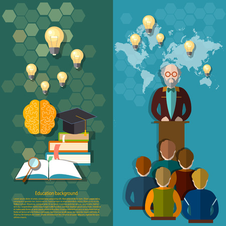 professor: Science and education online education study students university college professor lectures teacher vector banners