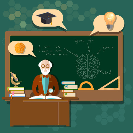 professor: Education professor teacher students school boards classroom back to school college research mathematics geometry vector illustration Illustration