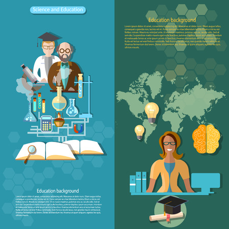 pedagogy: Science and education school college university research laboratory professor distance learning teacher exams lessons chemistry physics vector banners